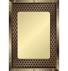 Metal grate with metallic plaque vector