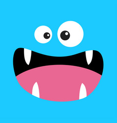 Monster head boo spooky screaming smiling face vector