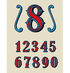 old decorative numbers set wild west style vector image