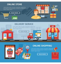 Online Shopping And Delivery Flat Banners Set vector image