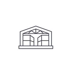 Pavilion storehouse line icon sign vector