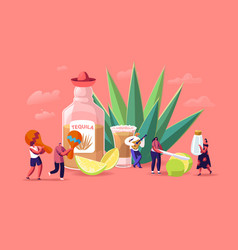 People drinking tequila concept tiny male vector