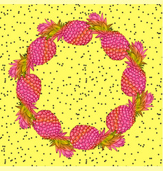 Pineapple creative trendy art wreath vector