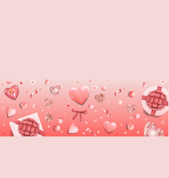 Pink greeting web banner with top view objects vector