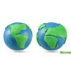 planet earth icon 3d objects handmade plasticine vector image