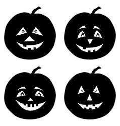 Pumpkins Jack O Lantern silhouettes vector