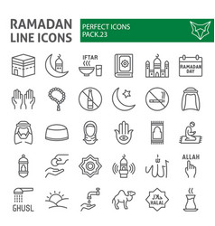 ramadan line icon set islamic symbols collection vector image