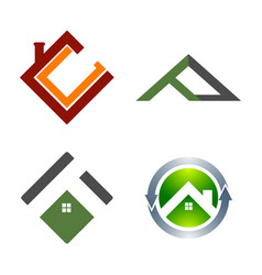 real estate logo set building and construction vector image