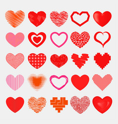 Red hearts sharp simple red icon color vector