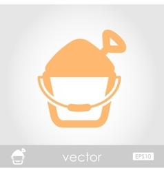 Sand bucket and shovel icon vector