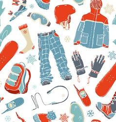 Seamless pattern snowboard gear vector