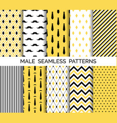set of male seamless patterns black and yellow vector image