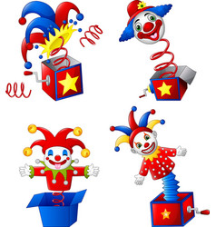 set of toy circus clown out of a box vector image