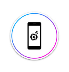 setting on smartphone screen icon isolated vector image