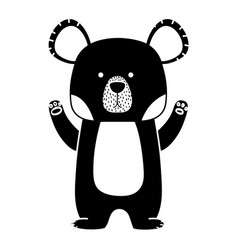 Silhouette cute bear wild animal of the forest vector