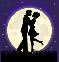 silhouettes a loving couple standing in front o vector image
