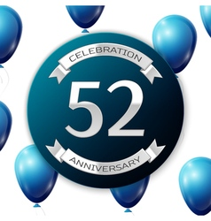 Silver number fifty two years anniversary vector image