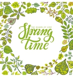 Spring time letteringGreen leaves background vector