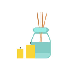 sticks oil and candles for massage cartoon banner vector image