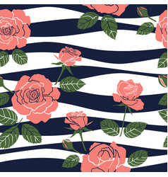 sweet roses seamless pattern on wavy background vector image