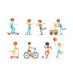 teenage boy outdoor activities set boy doing vector image