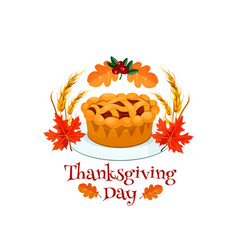 Thanksgiving day autumn holiday pumpkin pie symbol vector