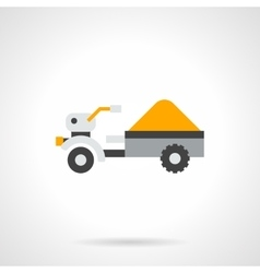 Trailer with crop flat color icon vector