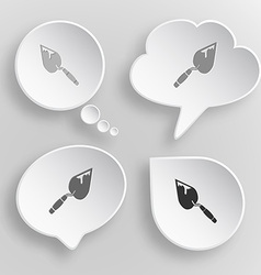 Trowel White flat buttons on gray background vector image