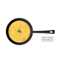 typical spanish potato omelette in a pan ornament vector image