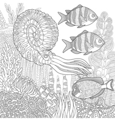 Underwater nautilus and fish vector