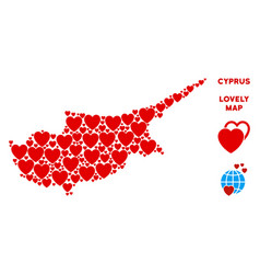 valentine cyprus island map collage of vector image