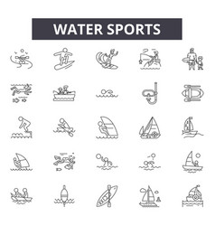 water sports line icons for web and mobile design vector image