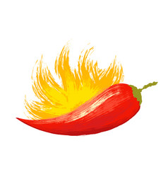 Watercolor red chilli pepper with flame vector