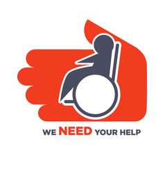 we need your help agitative poster to help for vector image