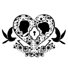 wedding heart with key and doves vector image