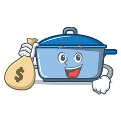 with money bag kitchen character cartoon style vector image