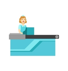 Woman Cashier At The Counter Shopping Mall And vector image