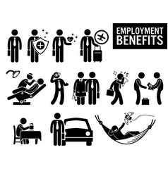 Worker employment job benefits stick figure vector