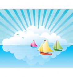 yachts on the water vector image