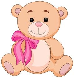 Cute brown bear stuff cartoon vector image