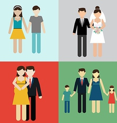 Family flat icons set with married couples parents vector image vector image