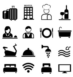 hotel resort and hospitality icon set vector image