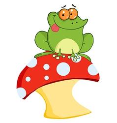 Tree Frog On A Toadstool Or Mushroom vector image