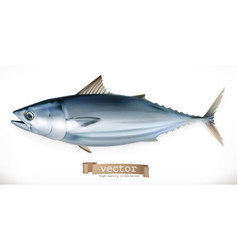tuna fish 3d icon seafood realism style vector image