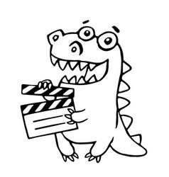 dragon with movie clapper board vector image