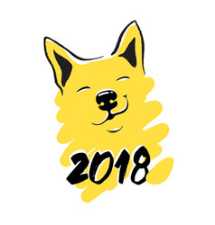 new year 2018 card yellow dog funny card vector image vector image