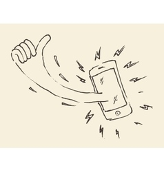 Smart Phon Perfectly Thumb Up Mobile Hand Drawn vector image