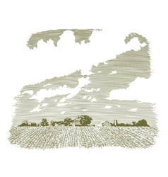 Woodcut Kansas Farm vector image
