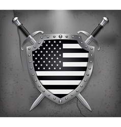 Black and White American Flag Medieval Background vector image