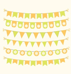 Bunting set patel green and orange scrapbook vector image